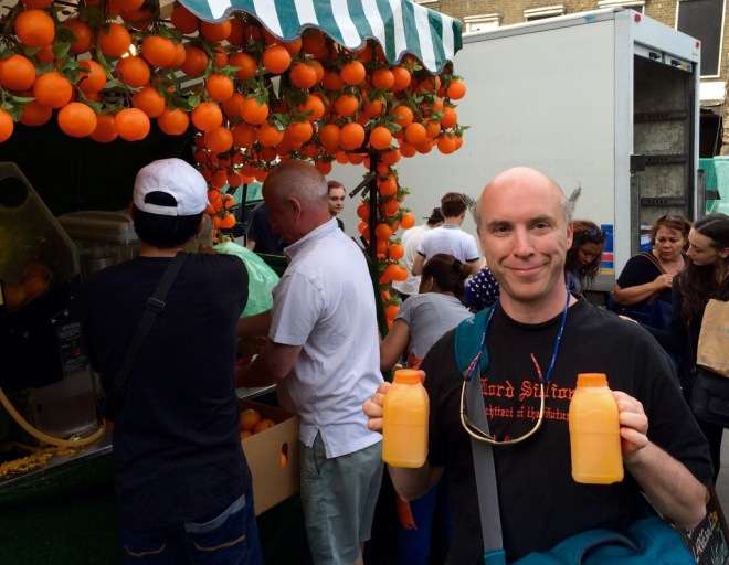 Some much needed fresh orange juice at Camden Market